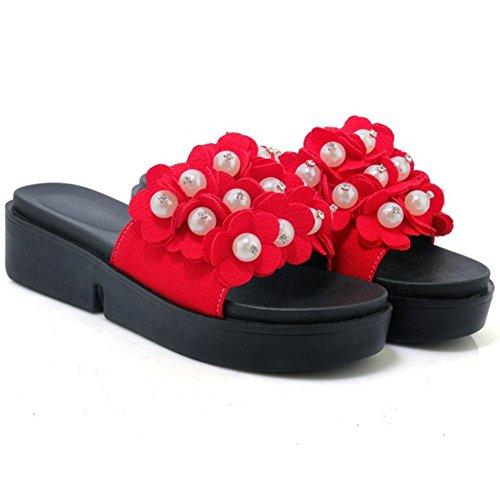 rosso Donna Pantofole Scarpe TAOFFEN Scivolare su 1XqRH7