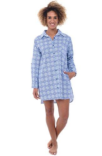 Alexander Del Rossa Womens Cotton Nightshirt, Boyfriend Style Woven Sleepshirt, Small Victorian Mirrored Pattern (A0506V56SM)