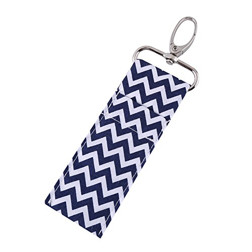 1 Pc Lipstick Holder Keychain Wave Pattern Chapstick Pouch Bag Mothers Girls Gift(Navy - 1 Pc Keychain
