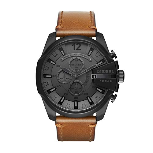 Diesel Brown Leather - Diesel Men's Mega Chief Stainless Steel Japanese-Quartz Watch with Leather Calfskin Strap, Brown, 26 (Model: DZ4463)