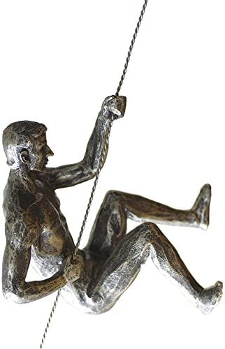 Olpchee Nordic Modern Simplicity Resin Creative Climbing Man Wall Sculpture Hand-finished for Art Home Decor Silver Rust Posture A