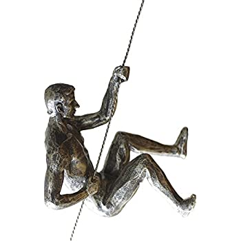 Olpchee Nordic Modern Simplicity Resin Creative Climbing Man Wall Sculpture Hand-finished for Art Home Decor Silver Rust (Posture A)