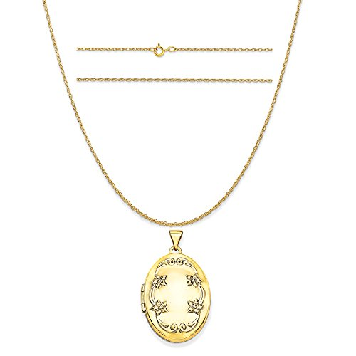 14k Yellow Gold 26mm Oval Floral Scroll Border Locket Pendant on 14K Yellow Gold Rope Necklace, 20