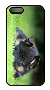 leather case german shepherd puppy PC Black Case for iphone 5/5S