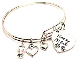I Love My Pit Bulls Adjustable Wire Bangle Bracelet