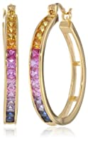 18k Yellow Gold Plated Sterling Silver Multi-Colored Created Sapphire Hoop Earrings from PAJ, Inc