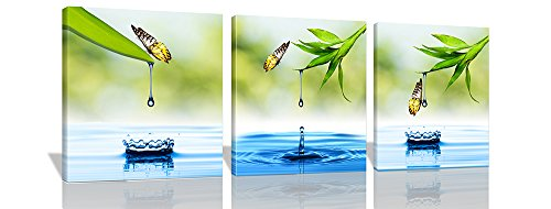 Spirit Up Art 3Pcs/Sets Huge Modern Giclee Prints Artwork Butterfly Green Bamboo Drop Water Pictures Photo Paintings Print on Canvas, Wall Art for Home Walls Decor, Stretched and Framed, Ready to Hang