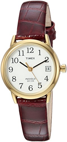 Timex Women's TW2R63400 Easy Reader Brown Croco Pattern Leather Strap Watch