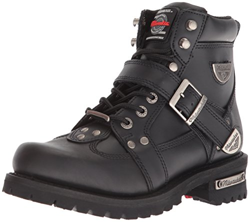 (Milwaukee Motorcycle Clothing Company Road Captain Leather Women's Motorcycle Boots (Black, Size 8.5C))