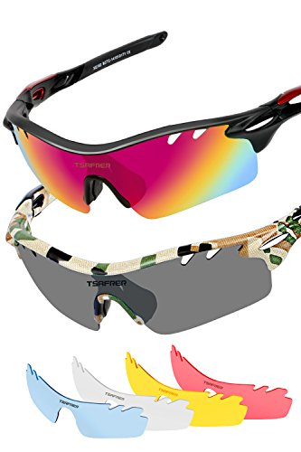 Polarized Sunglasses Mens Sunglasses 2 Pairs Sports Sunglasses (Black Red&Camouflage) Camo Sport Glasses