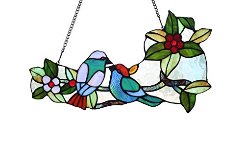 (Yolic Tropical Birds Tiffany Style Stained Glass Window Panel with Hanging Chain, 16-inch Wide)