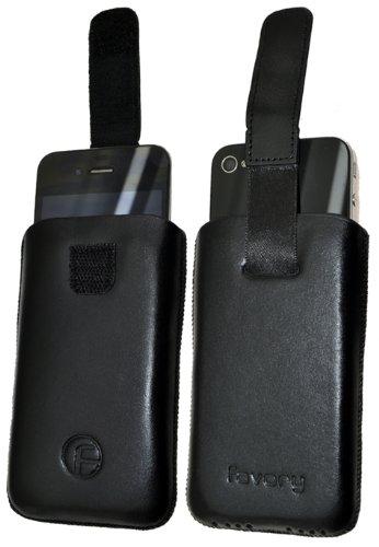 Original Favory Etui Tasche fuer / Apple iPhone 3Gs 16GB - 32GB / iPhone 3G 8GB - 16GB / Leder Etui Handytasche Ledertasche Schutzhuelle Case Huelle *Speziell - Lasche mit Rueckzugfunktion* In Schwarz