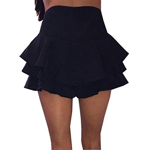 Women's High Waisted Ruffles Pleated Skirt Mini Short Skorts (Small, (Ruffle Skirt)