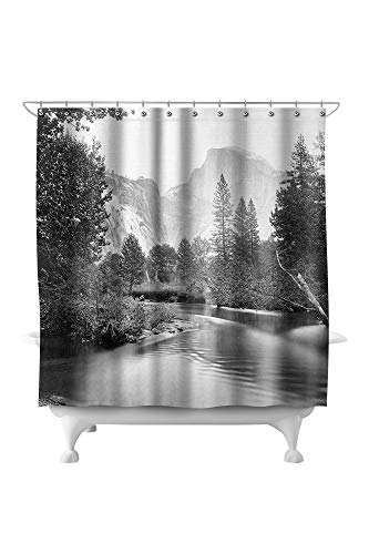 Lantern Press Yosemite National Park, California - Valley Floor and Half Dome - Vintage Photograph 2585 (74x74 Polyester Shower Curtain)