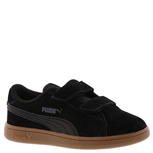 PUMA Unisex-Kids Smash v2 SD Velcro Sneaker, Black Black-Asphalt, 2.5 M US Little Kid - Kid Suede Casual Shoes