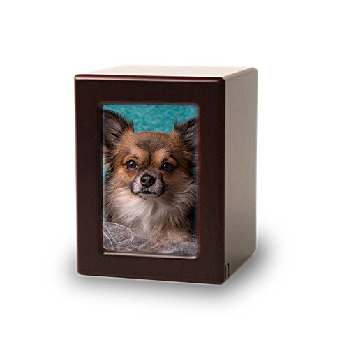 Photo Frame Wood Memorial Urn for Cats and Dogs - Extra Small - Holds Up to 25 Cubic Inches of Ashes - Cherry Wood Brown Pet Cremation Urn for Ashes - Engraving Sold Separately