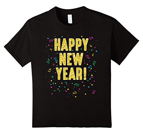 Kids Happy New Year T Shirt 12 Black
