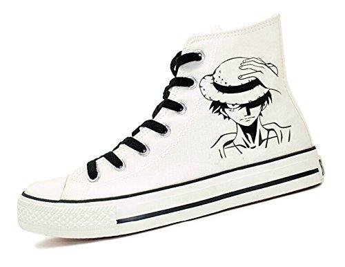 One Piece Luffy Anime Schuhe auf Leinwand Weiß