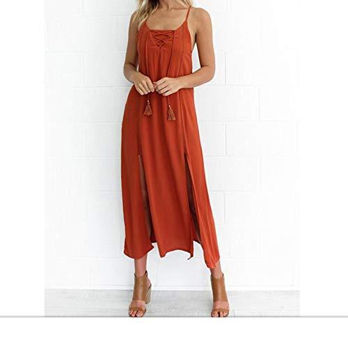Femmes Sexy Hors paule Dos Nu Double Haute Robe Longue Fendue, (Color : Orange, Size : M)