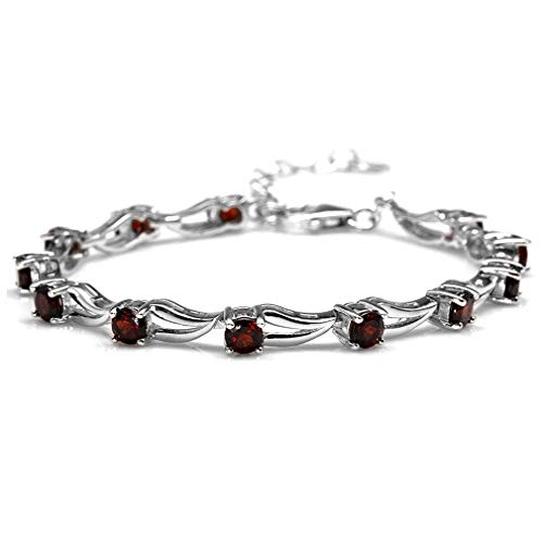 - 3.96ct. Natural Garnet White Gold Plated 925 Sterling Silver 6.5-8 Inch Adjustable Modern Bracelet