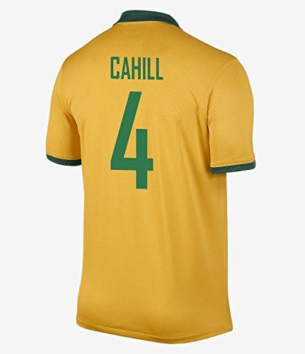 トレイル割り当てるフィードNIKE CAHILL #4 Australia Home Jersey 2014-15/サッカーユニフォーム オーストラリア ホーム用 背番号4 ケーヒル