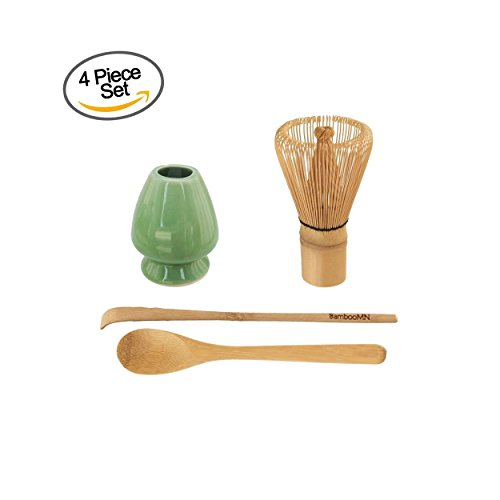 BambooMN Brand - Matcha Green Tea Whisk Set - Whisk + Scoop + Tea Spoon + Soft Light Green Whisk Holder (Tea Whisk Bamboo)