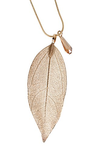 SPUNKYsoul Long Leaf Filigree Necklace with Faceted Crystal in Silver, Gold and Gun Metal & Rose Gold Snake Chain Gift for Women Collection (Necklace Gold) (Long Necklace Leaf)