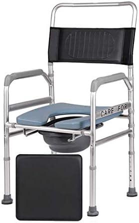 JFZCBXD Old Man Mietklo Potty Stuhl, kann Sich bewegen Folding KopfendeCommode Stuhl, höhenverstellbar Unterstützung, Anti-Rutsch-Matte - Universal Fit