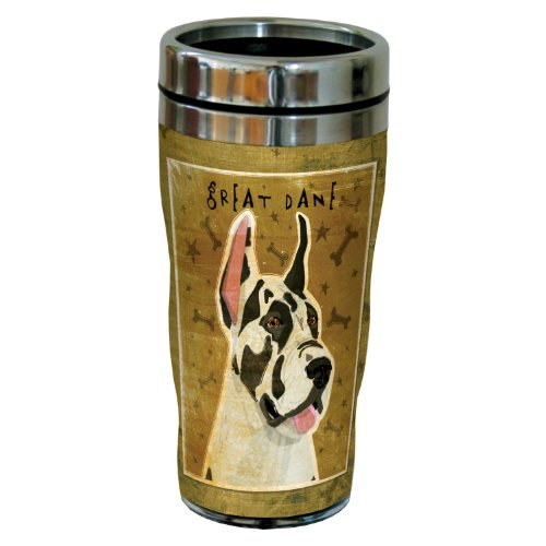 Tree-Free Greetings sg24071 Harlequin Great Dane by John W. Golden 16-Ounce Sip 'N Go Stainless Steel Lined Travel (Great Dane Merchandise)