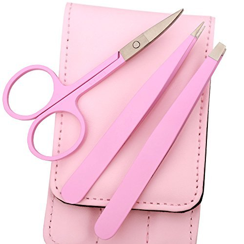 Tweezers for Eyebrows Set of Three- Includes Case with Professional Pointed Needle Nose, Slant & Straight Precision Stainless Steel- Ingrown Hair Nose, Hair Eyebrow & Splinters (Pink)