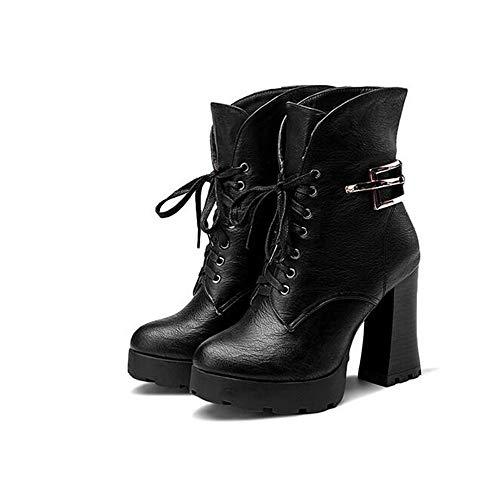 tamaño Mujeres tacón black Martin Botas e otoño Botas Cabeza Redonda de la de Alto Zapatos código Moda de de de Las de Invierno de tqxwgqnHB6