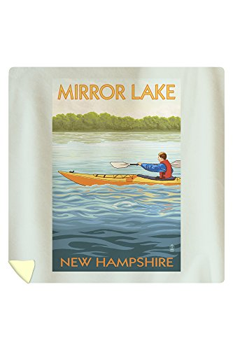 Mirror Lake, New Hampshire - Kayak Scene (88x88 Queen Microfiber Duvet Cover) by Lantern Press