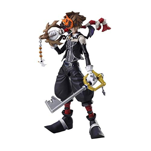 Siyushop Halloween Town Sora Play Arts Kai Action Figure - Equipped with Weapons, Halloween Masks and Replaceable Hands - High 16CM ()