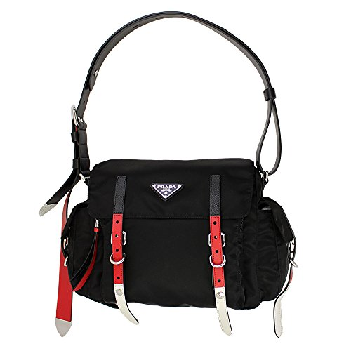 ck Nylon Shoulder Bag 1BD118 Nero+Fuoco ()