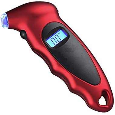 Voroly Digital Tyre Pressure Gauge 150 PSI 4 Settings for Car Truck Bicycle with Backlit LCD and Non-Slip Grip, Red 7