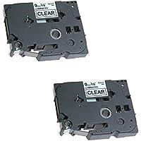 2x TZe-121 TZ-121 noir sur transparent 9mm x 8m Rubans Étiquettes compatibles avec Brother P-Touch PT-1000 1000P 1000BTS 1005 1010 1090 2030VP 2430PC 3600 9600 D200 D200VP D200BW D210 D210VP D400 D400VP D450VP D600VP E100 E100VP E300VP E550WVP H100LB H100R H101C H101GB H101TB H105 H110 H300 H500 H500LI P700 P750W GL-H100 Etiqueteuses