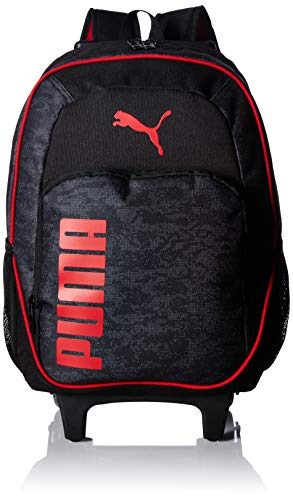 PUMA Big Kids' Axis Wheelie Backpack, Black/Red, OS