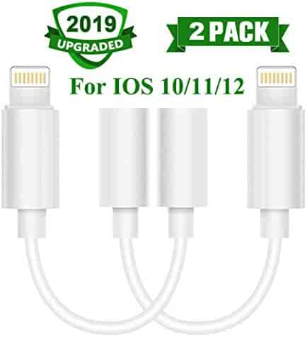 Lighting to 3.5 mm Headphone Adapter, Compatible with X/Xs/Xs Max/XR 7/8/8Plus iOS 10/11/12 Headphone Jack Adapter Plug and Play 2Pack (White)