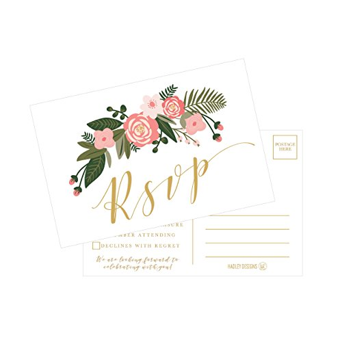 50 Blank Gold Floral RSVP Cards, RSVP Postcards No Envelopes Needed, Response Card, RSVP Reply, RSVP kit for Wedding, Rehearsal, Baby Bridal Shower, Birthday, Plain Bachelorette Party (Response Cards For Wedding)