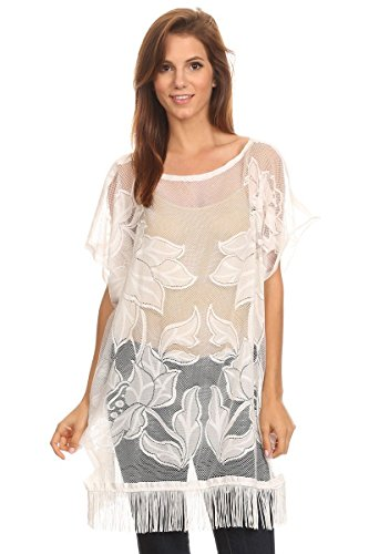 LL Womens White Embroidered Floral Poncho Kaftan with Fringe Tassels See Through
