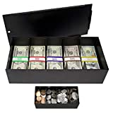 Nadex Lockable Metal 5 Compartment Currency Tray