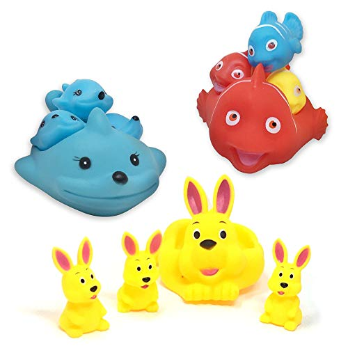 (Boomstar Toys - Bath Toys for Toddlers - Mother Whale, Fish, Rabbit and Their 3 Children - 12 PCS - Fun & Educational Squeaky Bath Time )