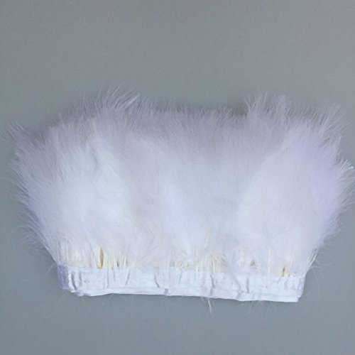 Trim White Marabou - KOLIGHT Pack of 5 Yards Natural Turkey Marabou Feather Trim Fringe 6-8 inch in Width DIY Decoration (White)
