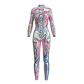 Honeystore Womens Halloween Skeleton Catsuit Costume 3d Stretch Skinny Bodysuit