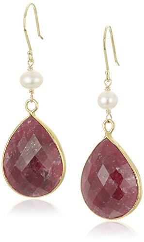 Faceted Dyed Red Corundum Pear Shape Bezel with White Freshwater Cultured Pearl and Gold over Silver Drop Earrings