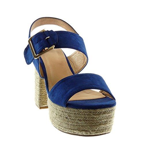 Caviglia Cm Alto Corda Tanga Angkorly A Fibbia 11 Tacco Donna Mules Cinturino Moda Con Sandali Blu Zeppe Scarpe Blocco Alla nqa0SU