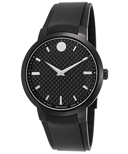 Movado Men's 42mm Black Rubber Band Steel Case S. Sapphire Swiss Quartz Analog Watch 0606849