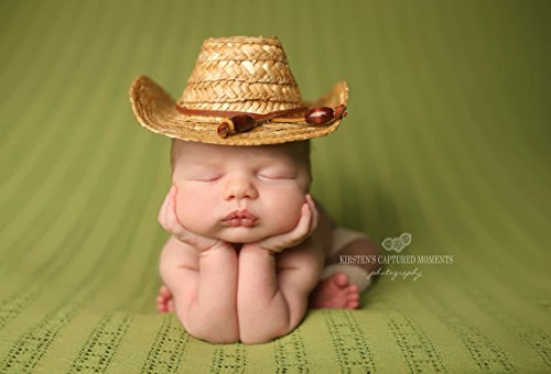 [Newborn Straw Cowboy Hat, Newborn Photography prop] (Infant Cowboy Hat)