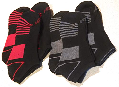 Mens Performance Low Cut Socks 6 Pairs Black & Red Athletic Cushion Ankle Fit