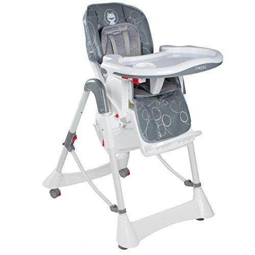 Froggy Baby Kinder Hochstuhl mit Sicherheitsgurt und Großem Esstisch, Höhenverstellbar, Zusammenklappbar, Bubbles